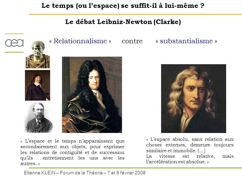 Etienne KLEIN – Forum de la Théorie – 7 et 8 février 2008 Le temps (ou lespace) se suffit-il à lui-même ? Le débat Leibniz-Newton (Clarke) « Lespace a