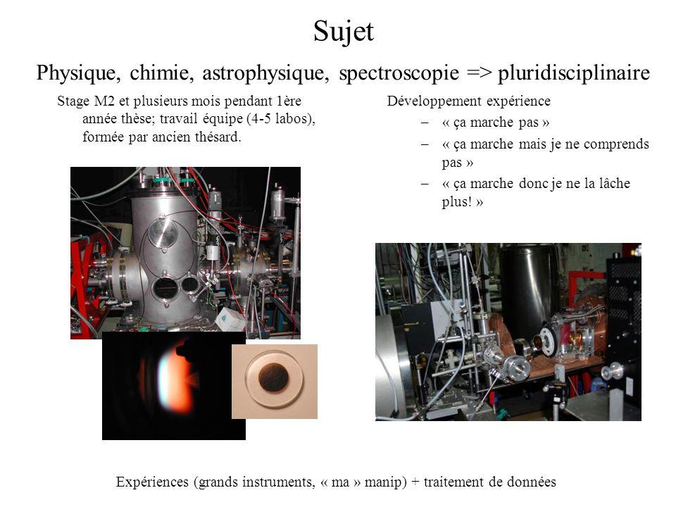 Sujet Stage M2 et plusieurs mois pendant 1ère année thèse; travail équipe (4-5 labos), formée par ancien thésard. Développement expérience –« ça march
