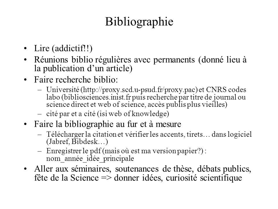 Bibliographie Lire (addictif!!) Réunions biblio régulières avec permanents (donné lieu à la publication dun article) Faire recherche biblio: –Universi