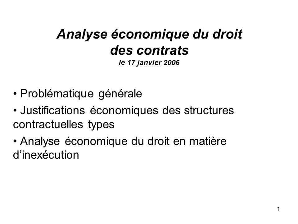1 Analyse économique du droit des contrats le 17 janvier 2006 Problématique générale Justifications économiques des structures contractuelles types An