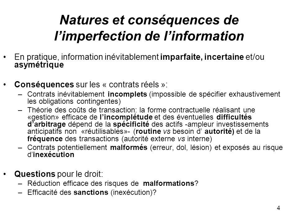4 Natures et conséquences de limperfection de linformation En pratique, information inévitablement imparfaite, incertaine et/ou asymétrique Conséquenc