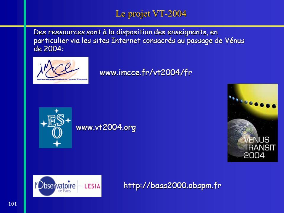 101 Le projet VT-2004 Des ressources sont à la disposition des enseignants, en particulier via les sites Internet consacrés au passage de Vénus de 200