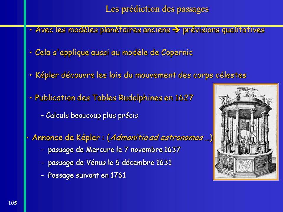 105 Les prédiction des passages – Calculs beaucoup plus précis Annonce de Képler : (Admonitio ad astronomos …)Annonce de Képler : (Admonitio ad astron