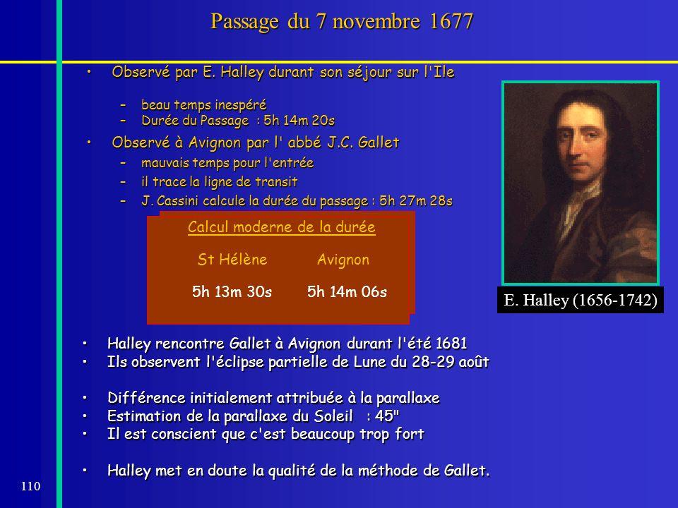 110 Passage du 7 novembre 1677 Observé par E. Halley durant son séjour sur l'IleObservé par E. Halley durant son séjour sur l'Ile –beau temps inespéré