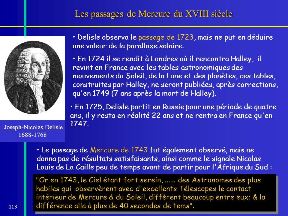 113 Les passages de Mercure du XVIII siècle Joseph-Nicolas Delisle 1688-1768 Delisle observa le passage de 1723, mais ne put en déduire une valeur de