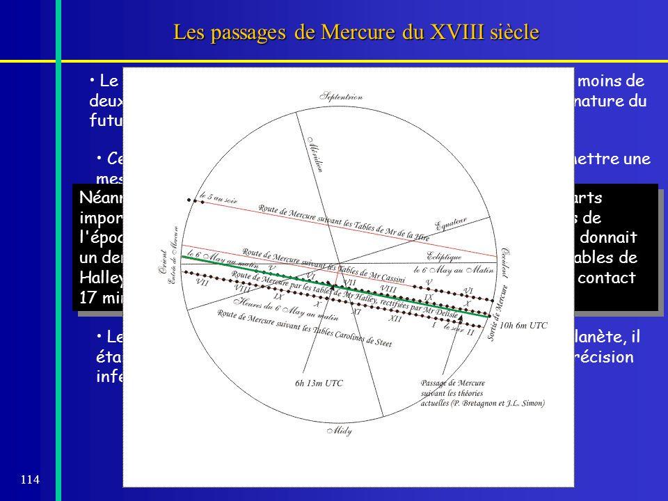 114 Les passages de Mercure du XVIII siècle Le passage de Mercure de 1753, pour lequel Mercure passa à moins de deux minutes du centre du Soleil, fut