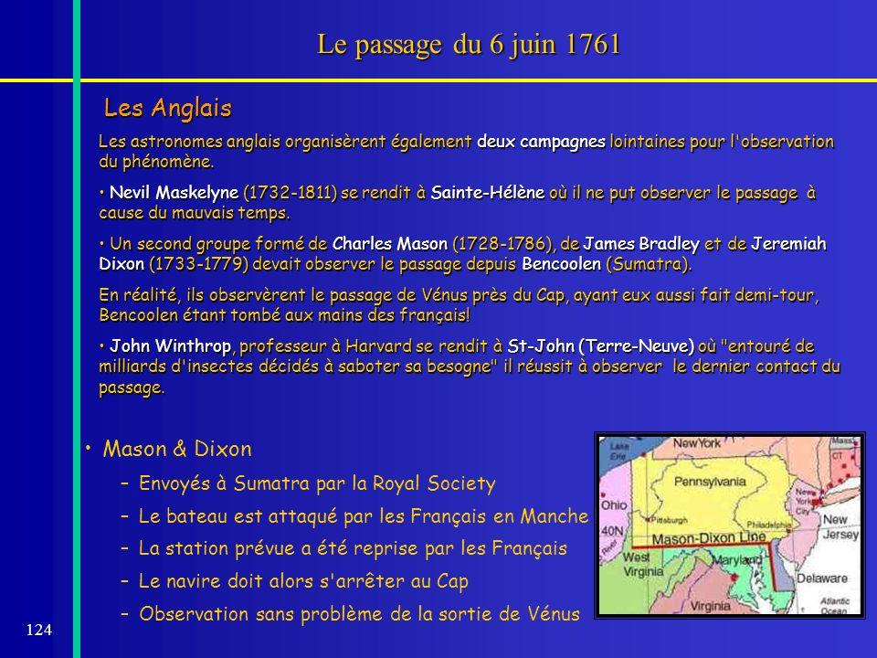 124 Le passage du 6 juin 1761 Les Anglais Les astronomes anglais organisèrent également deux campagnes lointaines pour l'observation du phénomène. Nev