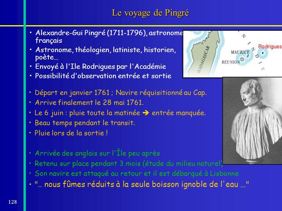 128 Le voyage de Pingré Alexandre-Gui Pingré (1711-1796), astronome français Astronome, théologien, latiniste, historien, poète… Envoyé à l'Ile Rodrig