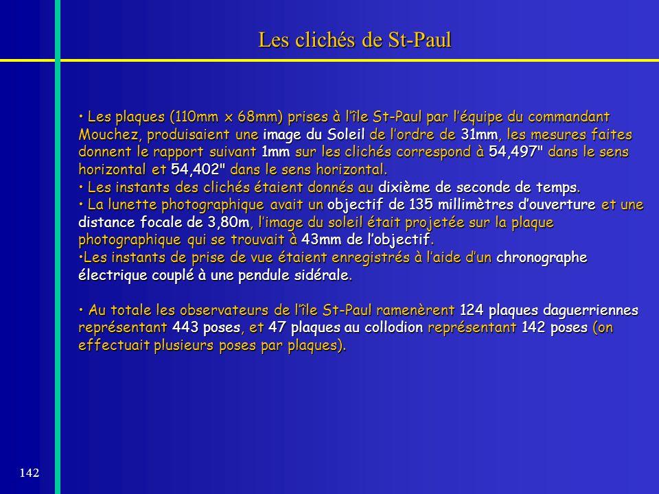 142 Les clichés de St-Paul Les plaques (110mm x 68mm) prises à lîle St-Paul par léquipe du commandant Mouchez, produisaient une image du Soleil de lor