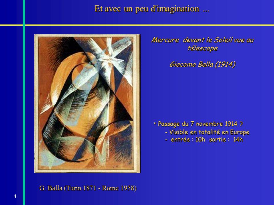 4 Et avec un peu d'imagination... Mercure devant le Soleil vue au télescope Giacomo Balla (1914) G. Balla (Turin 1871 - Rome 1958) Passage du 7 novemb