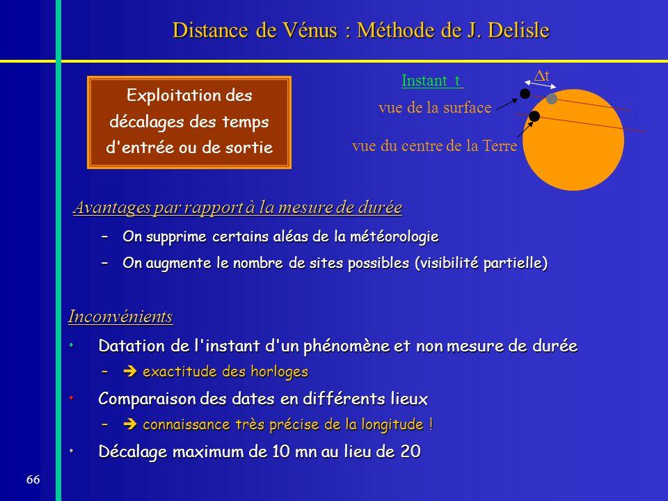 66 Distance de Vénus : Méthode de J. Delisle Avantages par rapport à la mesure de durée Avantages par rapport à la mesure de durée –On supprime certai