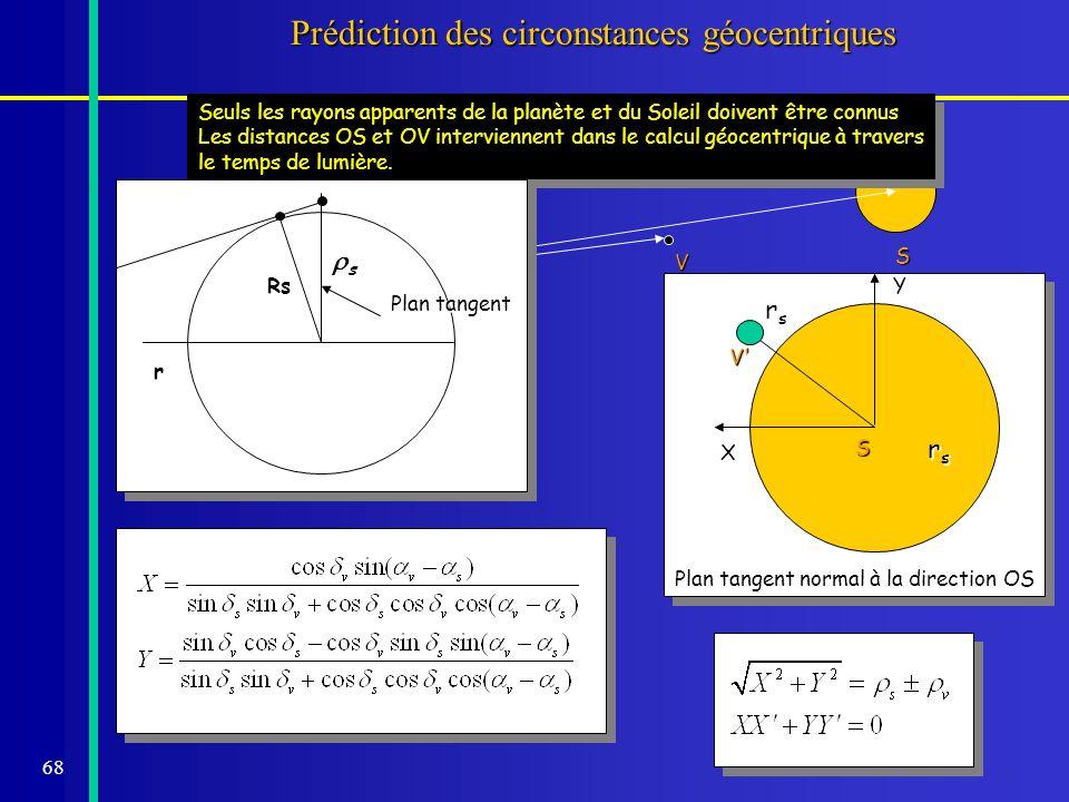 68 S Prédiction des circonstances géocentriques O V Seuls les rayons apparents de la planète et du Soleil doivent être connus Les distances OS et OV i