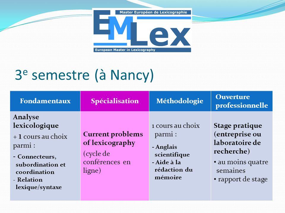 FondamentauxSpécialisationMéthodologie Ouverture professionnelle Analyse lexicologique + 1 cours au choix parmi : - Connecteurs, subordination et coor