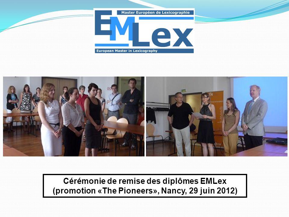 Cérémonie de remise des diplômes EMLex (promotion «The Pioneers», Nancy, 29 juin 2012)