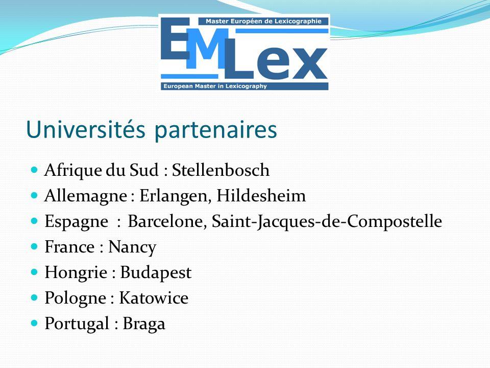 Afrique du Sud : Stellenbosch Allemagne : Erlangen, Hildesheim Espagne : Barcelone, Saint-Jacques-de-Compostelle France : Nancy Hongrie : Budapest Pol