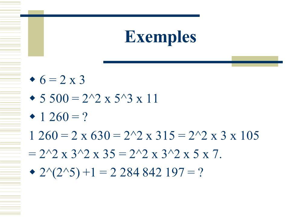 Théorème Fondamental de lArithmétique Tout entier non nul peut sécrire (de manière unique à lordre des facteurs près) comme produit de nombres premier