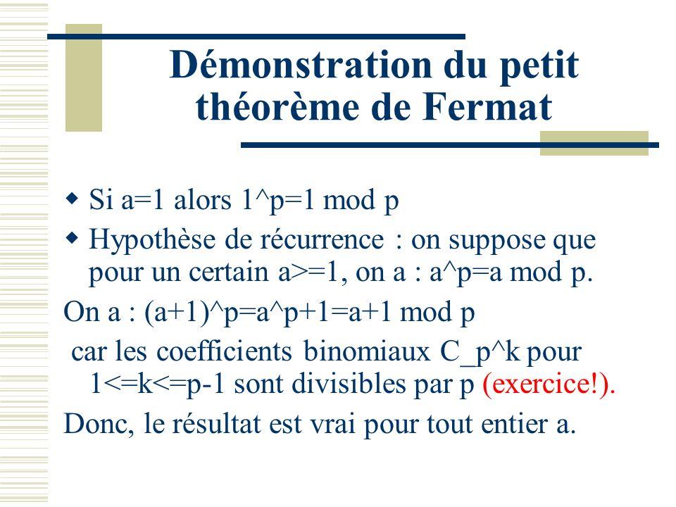 Nouvelle Formulation du petit théorème de Fermat Si p est premier alors a^p=a mod p pour tout entier a. En particulier, si p (premier) ne divise pas a