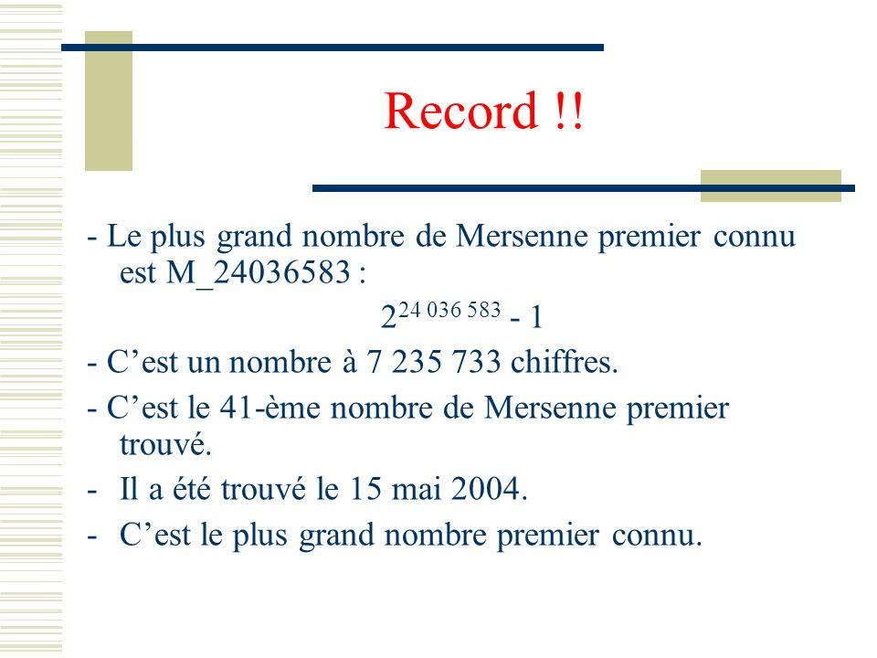 Primalité pour des nombres particuliers : Nombres de Mersenne IV Marin Mersenne (1588-1648) Définition : Les nombres M_p=2^p-1 avec p premier sont app