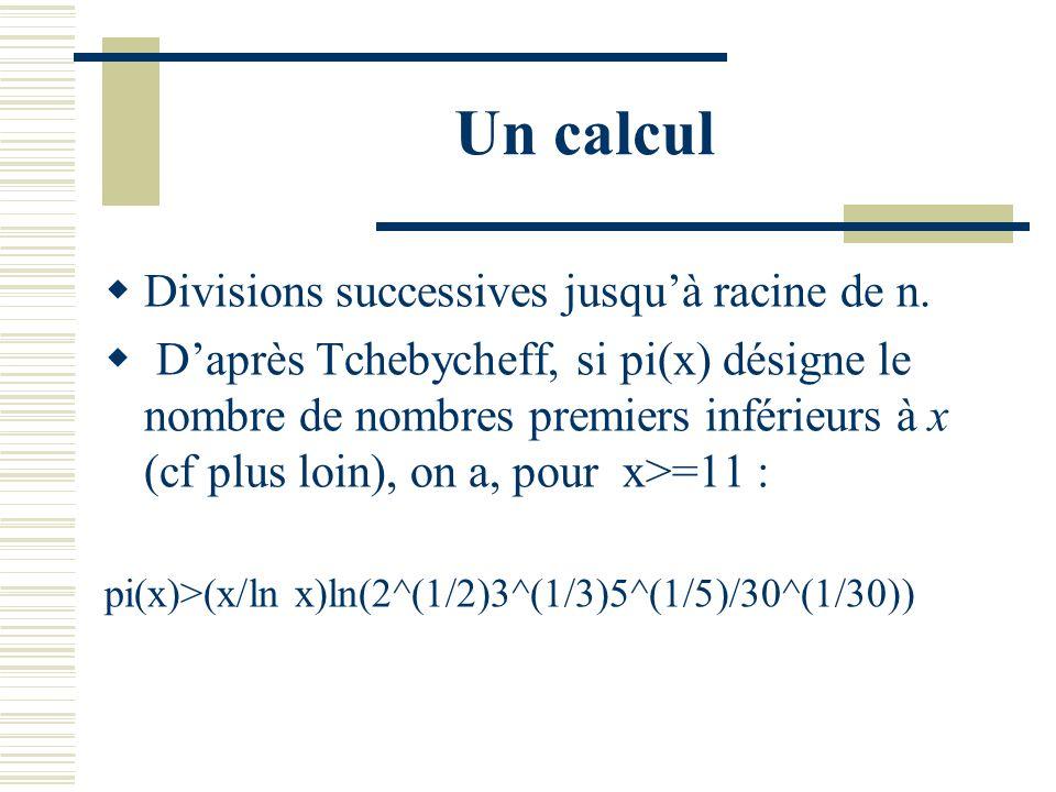 Un vieil exemple F_5=2^(2^5) +1 = 2 284 842 197 = ? Tester sa primalité avec des tables : suppose que lon dispose dune table de nombres premiers jusqu