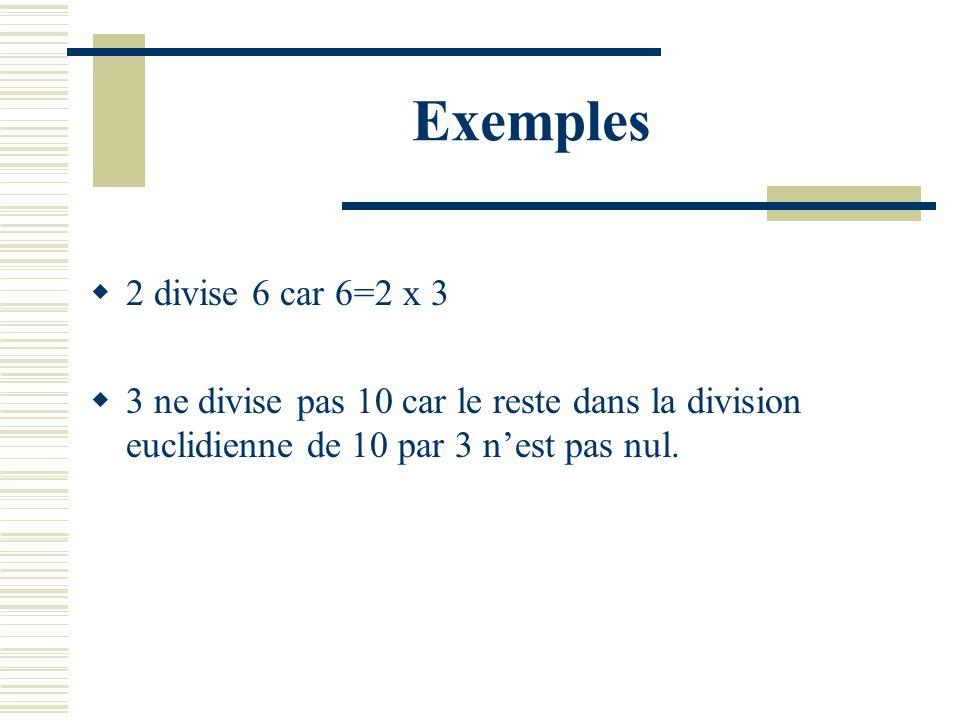 Exemples 2 divise 6 car 6=2 x 3 3 ne divise pas 10 car le reste dans la division euclidienne de 10 par 3 nest pas nul.