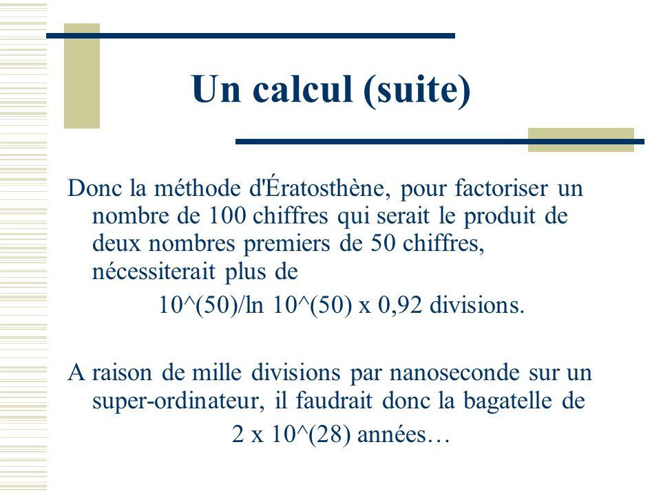 Un calcul Divisions successives jusquà racine de n. Daprès Tchebycheff, si pi(x) désigne le nombre de nombres premiers inférieurs à x (cf plus loin),