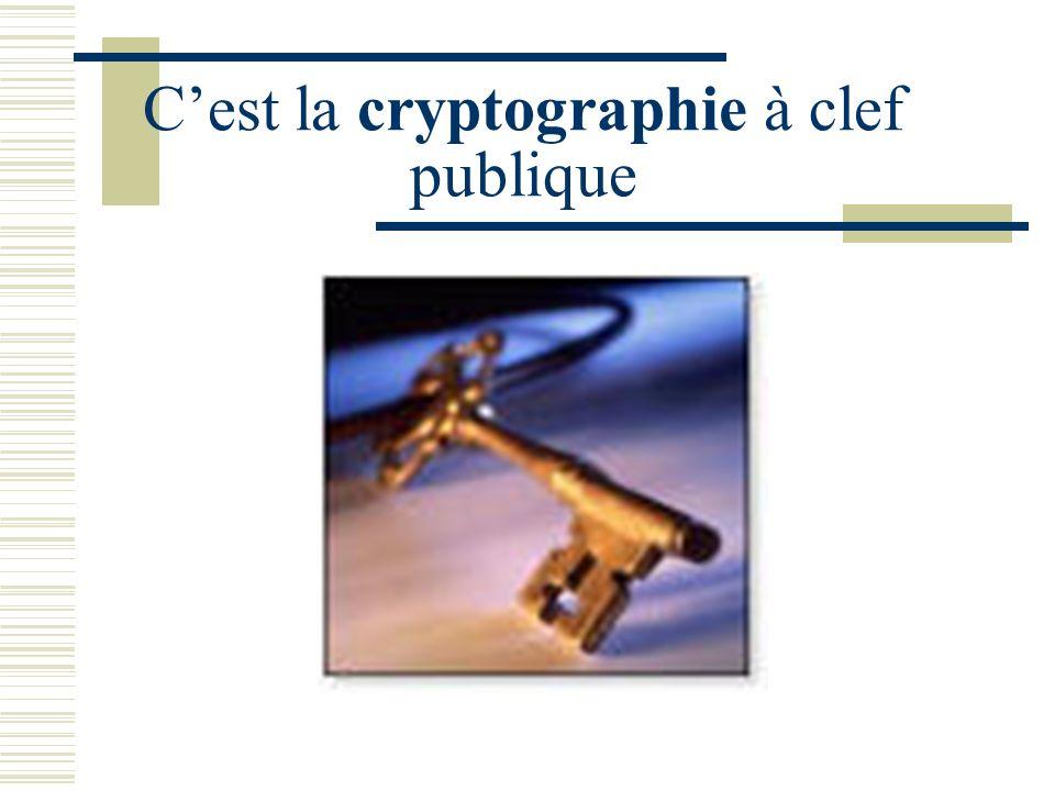 R.S.A. Le cryptosystème à clef publique R.S.A. (Rivest-Shamir-Adleman), proposé en 1976, est basé sur cette difficulté. Un entier, connu de tous, est