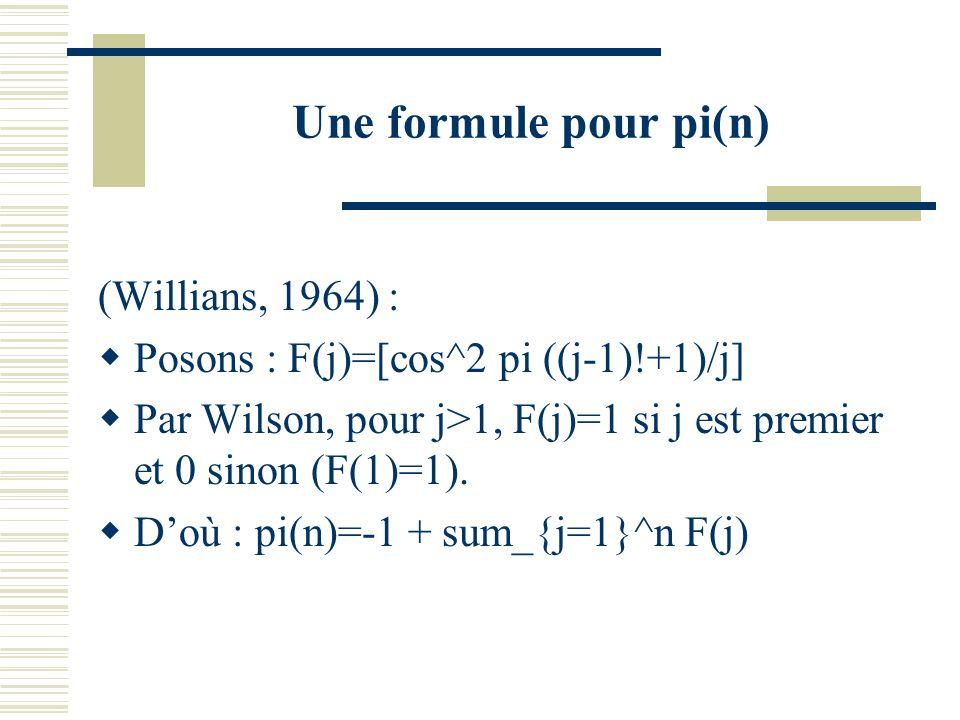 Probabilité de tirer un premier Soit n un entier. Puisque n/log n des n entiers inférieurs à n sont premiers (théorème des nombres premiers), la proba