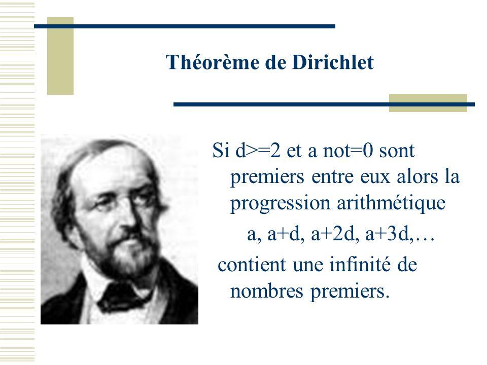 Nombres premiers en progression arithmétique Dirichlet a démontré en 1837 quil y en a une infinité (théorème dit de la progression arithmétique) Plus