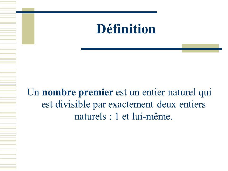 Définition Un nombre premier est un entier naturel qui est divisible par exactement deux entiers naturels : 1 et lui-même.