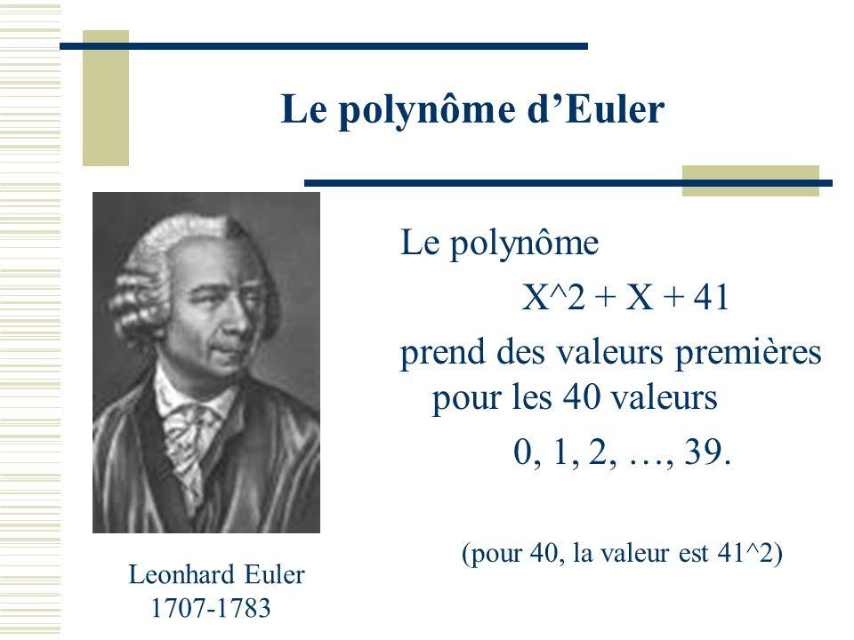 Curiosité : un polynôme ayant une longue série de valeurs premières
