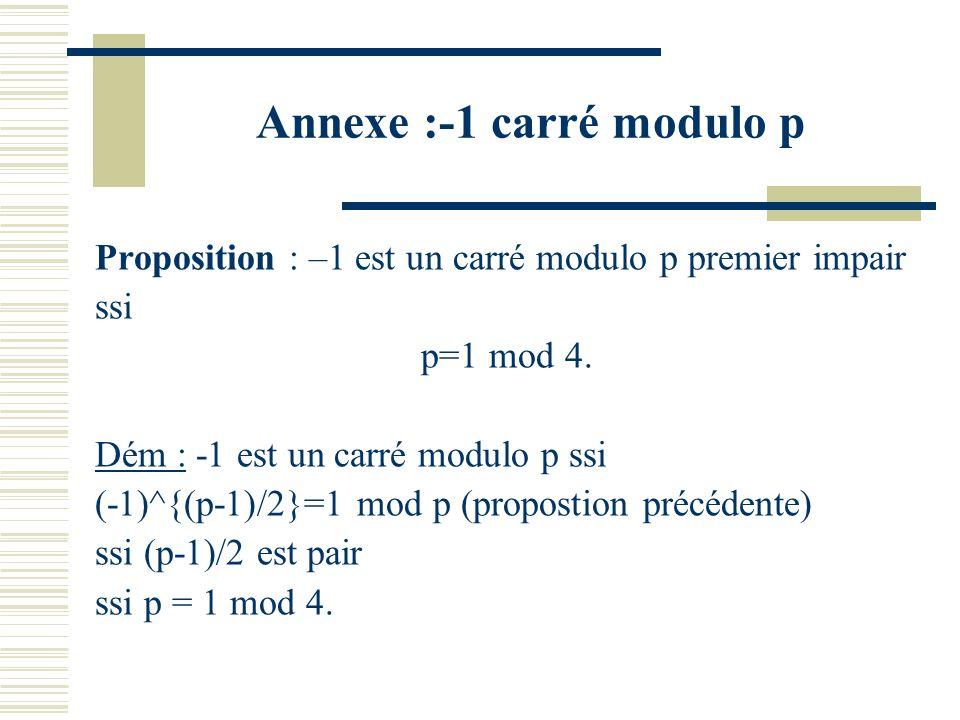 Annexe : les carrés modulo p premier impair Proposition : Un élément x est un carré modulo un premier p impair ssi x^{(p-1)/2}=1. Dém : Il y a au plus