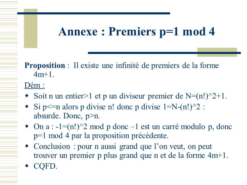 Annexe :-1 carré modulo p Proposition : –1 est un carré modulo p premier impair ssi p=1 mod 4. Dém : -1 est un carré modulo p ssi (-1)^{(p-1)/2}=1 mod