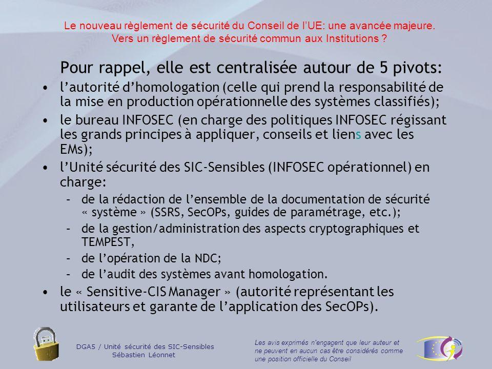 DGA5 / Unité sécurité des SIC-Sensibles Sébastien Léonnet Les avis exprimés n engagent que leur auteur et ne peuvent en aucun cas être considérés comme une position officielle du Conseil Lorganisation en place donne satisfaction.