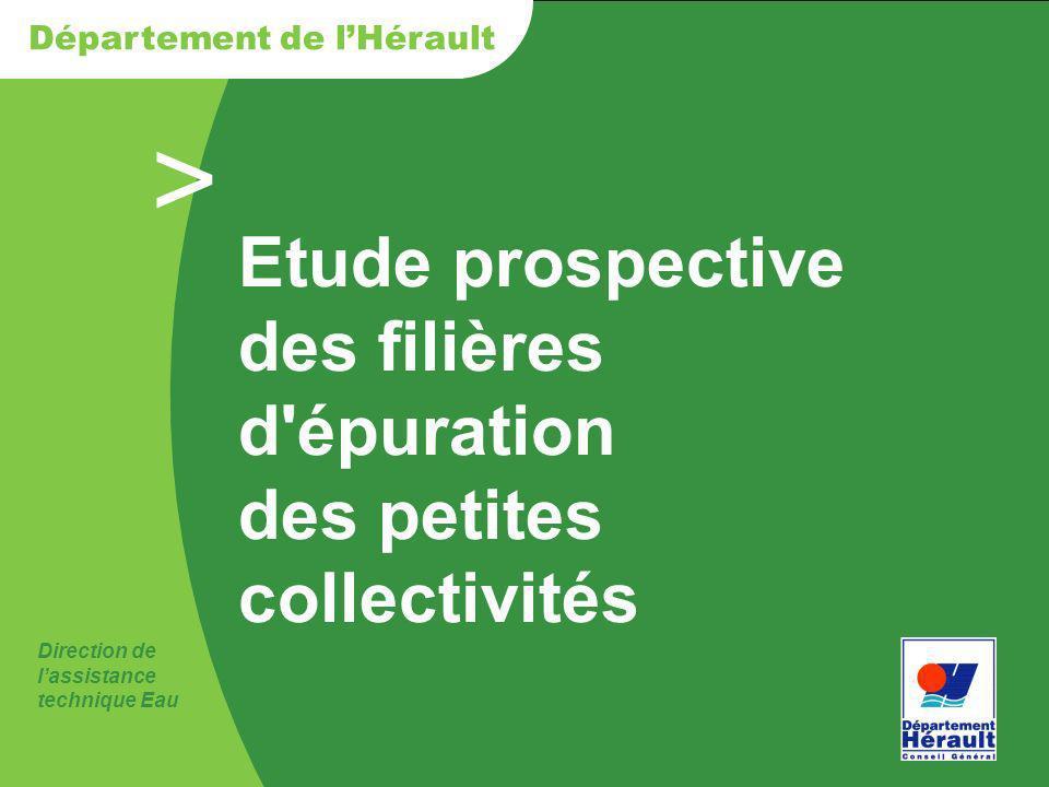 > Direction de lassistance technique Eau Département de lHérault Etude prospective des filières d'épuration des petites collectivités