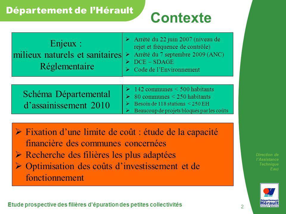 Direction de lAssistance Technique Eau ) Département de lHérault Etude prospective des filières d'épuration des petites collectivités 2 Contexte Schém