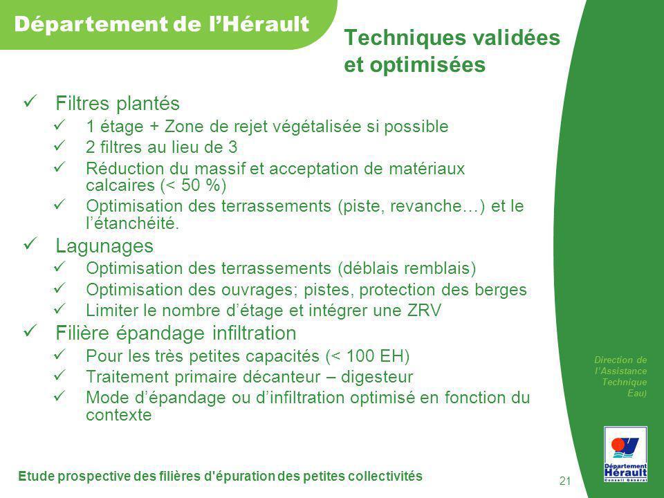 Direction de lAssistance Technique Eau ) Département de lHérault Filtres plantés 1 étage + Zone de rejet végétalisée si possible 2 filtres au lieu de