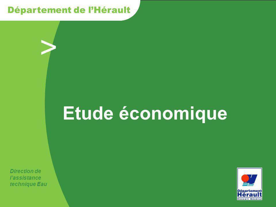 > Direction de lassistance technique Eau Département de lHérault Etude économique