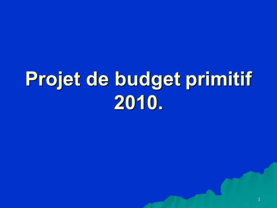 1 Projet de budget primitif 2010.