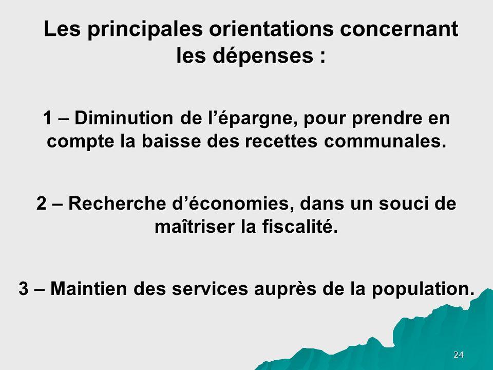 24 Les principales orientations concernant les dépenses : 1 – Diminution de lépargne, pour prendre en compte la baisse des recettes communales.