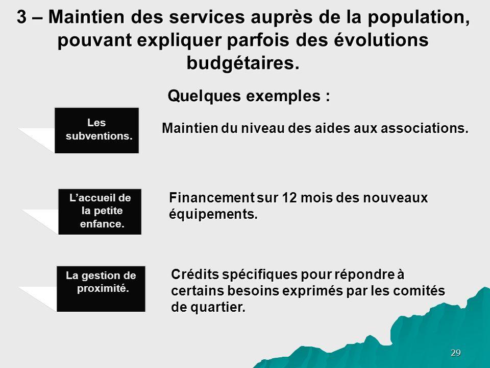29 3 – Maintien des services auprès de la population, pouvant expliquer parfois des évolutions budgétaires.