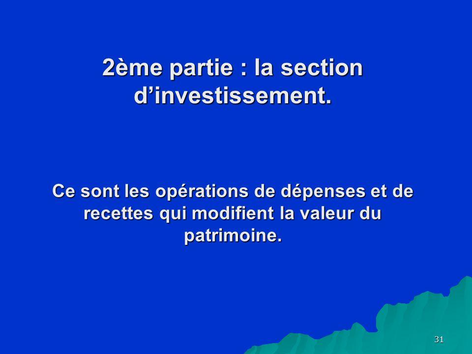31 2ème partie : la section dinvestissement.