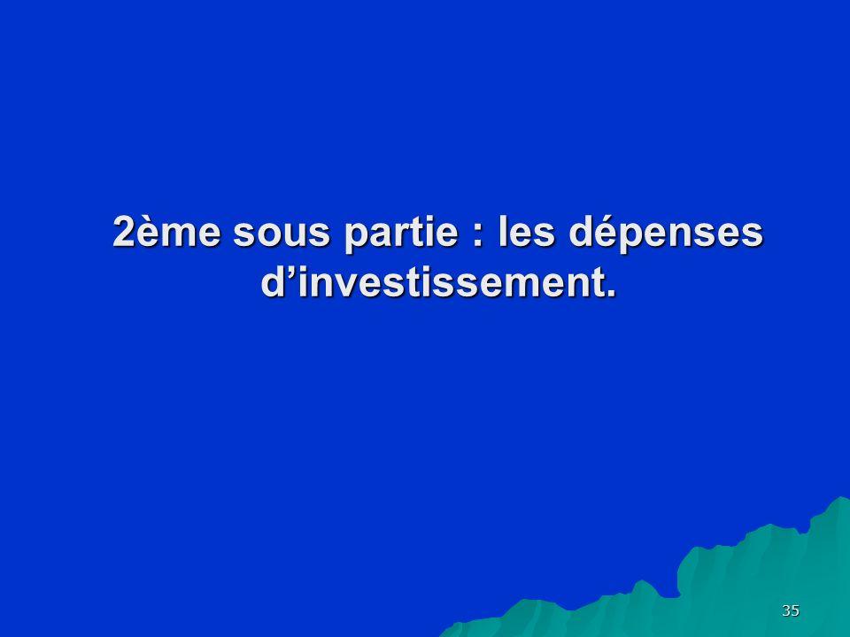 35 2ème sous partie : les dépenses dinvestissement.