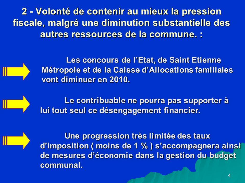 4 2 - Volonté de contenir au mieux la pression fiscale, malgré une diminution substantielle des autres ressources de la commune.