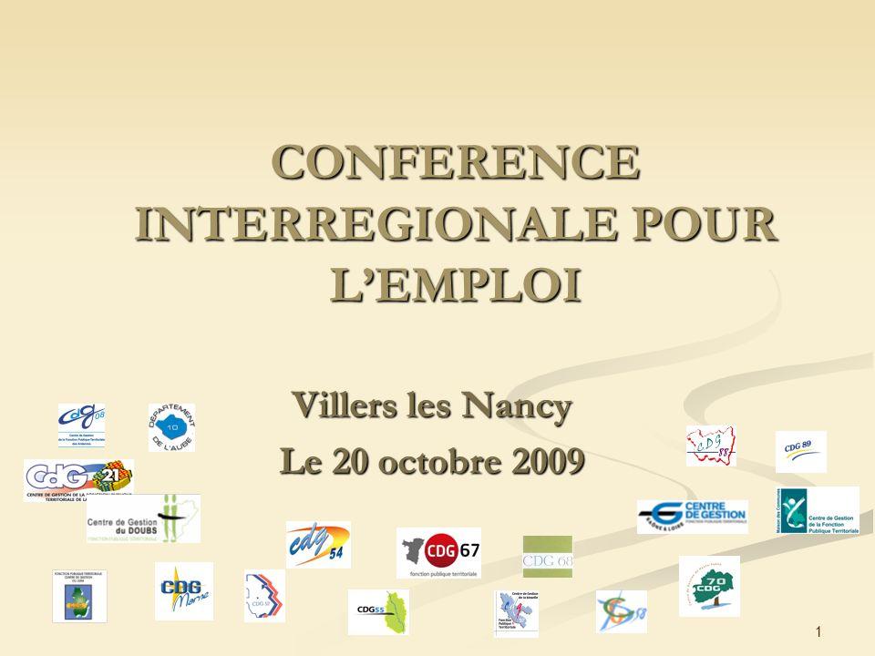 1 CONFERENCE INTERREGIONALE POUR LEMPLOI Villers les Nancy Le 20 octobre 2009