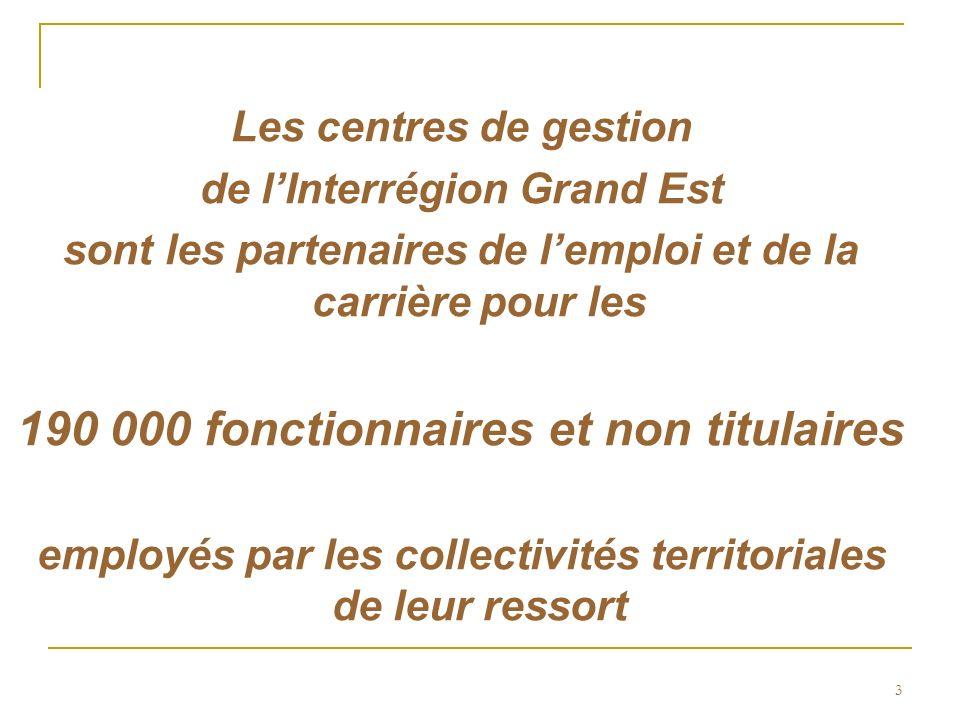 3 Les centres de gestion de lInterrégion Grand Est sont les partenaires de lemploi et de la carrière pour les 190 000 fonctionnaires et non titulaires