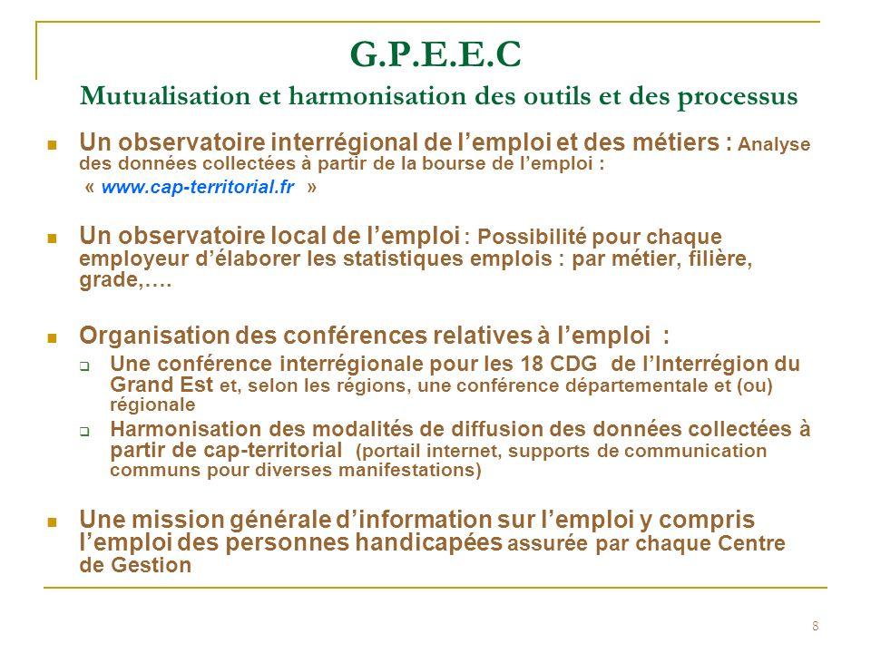 8 G.P.E.E.C Mutualisation et harmonisation des outils et des processus Un observatoire interrégional de lemploi et des métiers : Analyse des données c