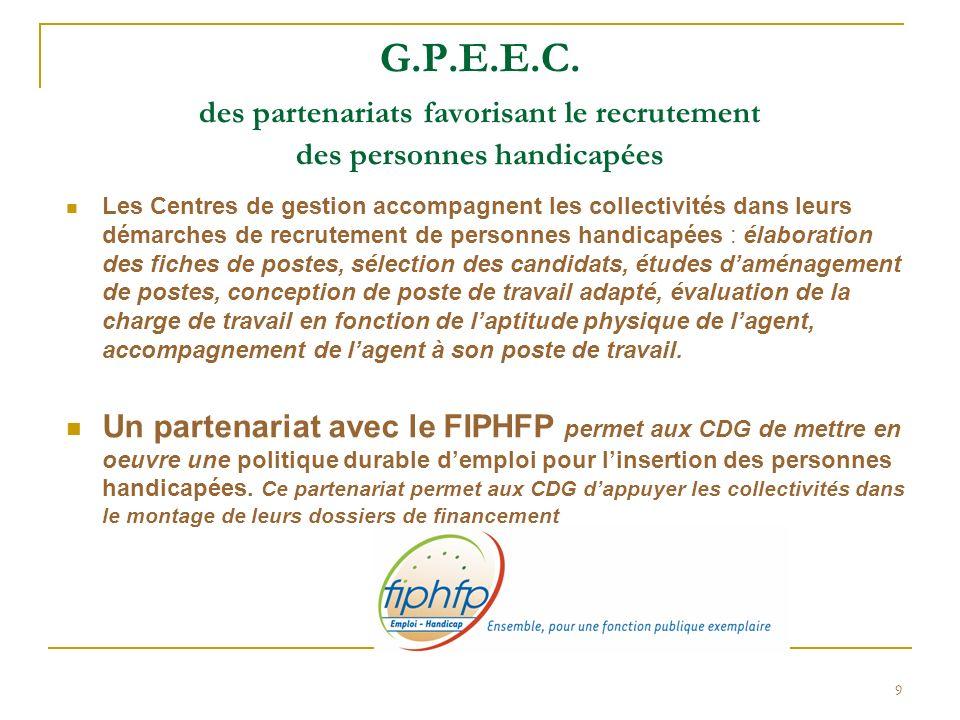 9 G.P.E.E.C. des partenariats favorisant le recrutement des personnes handicapées Les Centres de gestion accompagnent les collectivités dans leurs dém