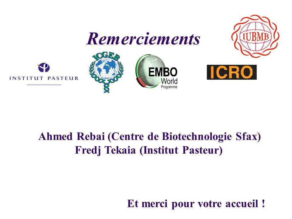 Remerciements Ahmed Rebai (Centre de Biotechnologie Sfax) Fredj Tekaia (Institut Pasteur) Et merci pour votre accueil !
