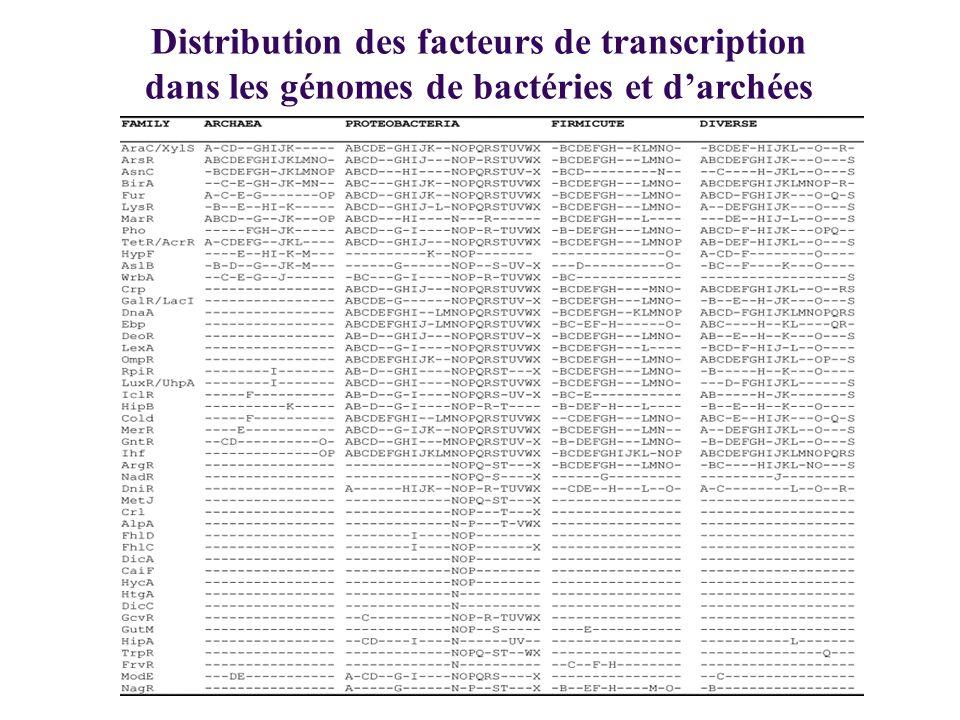 Distribution des facteurs de transcription dans les génomes de bactéries et darchées