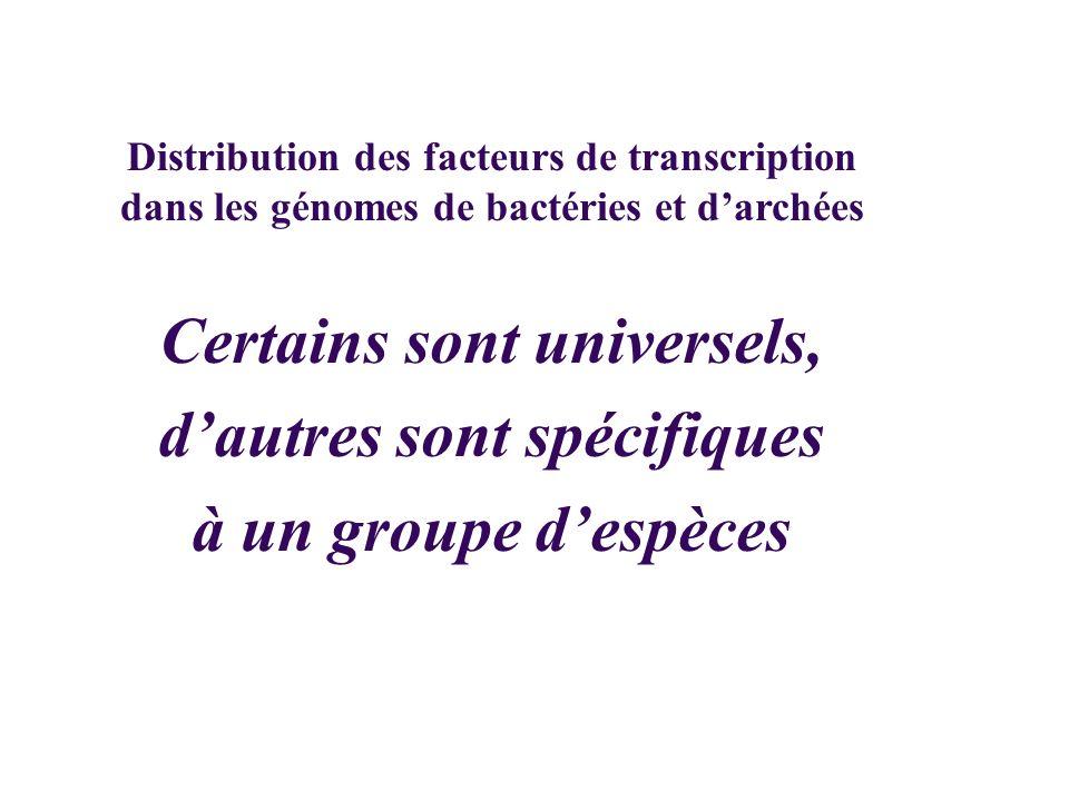Certains sont universels, dautres sont spécifiques à un groupe despèces Distribution des facteurs de transcription dans les génomes de bactéries et da